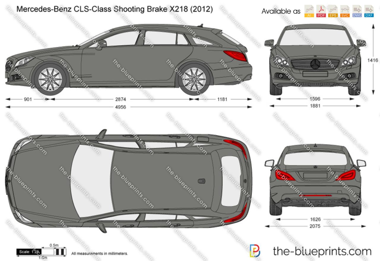Mercedes Benz Cls Class Shooting Brake X218 Vector Drawing