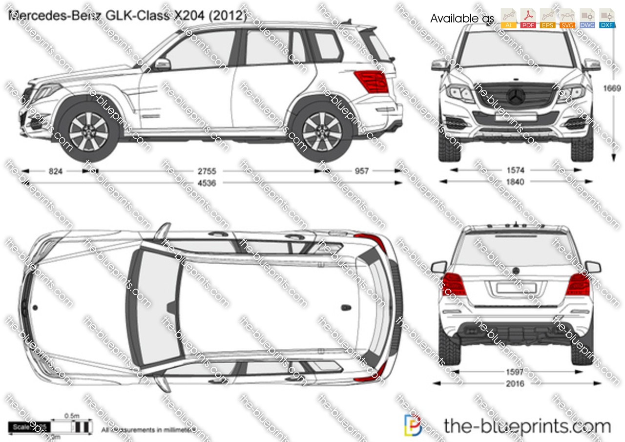 The vector drawing mercedes benz glk for 2012 mercedes benz glk class