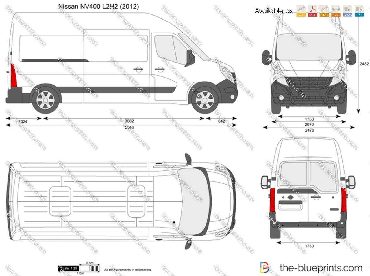 Nissan Nv400 L2h2 Vector Drawing