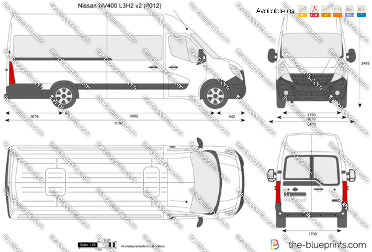 Nissan Nv400 L3h2 Vector Drawing
