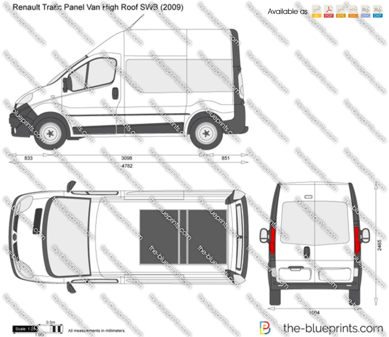Renault Trafic Van Gvw: Renault Trafic Panel Van High Roof SWB Vector Drawing