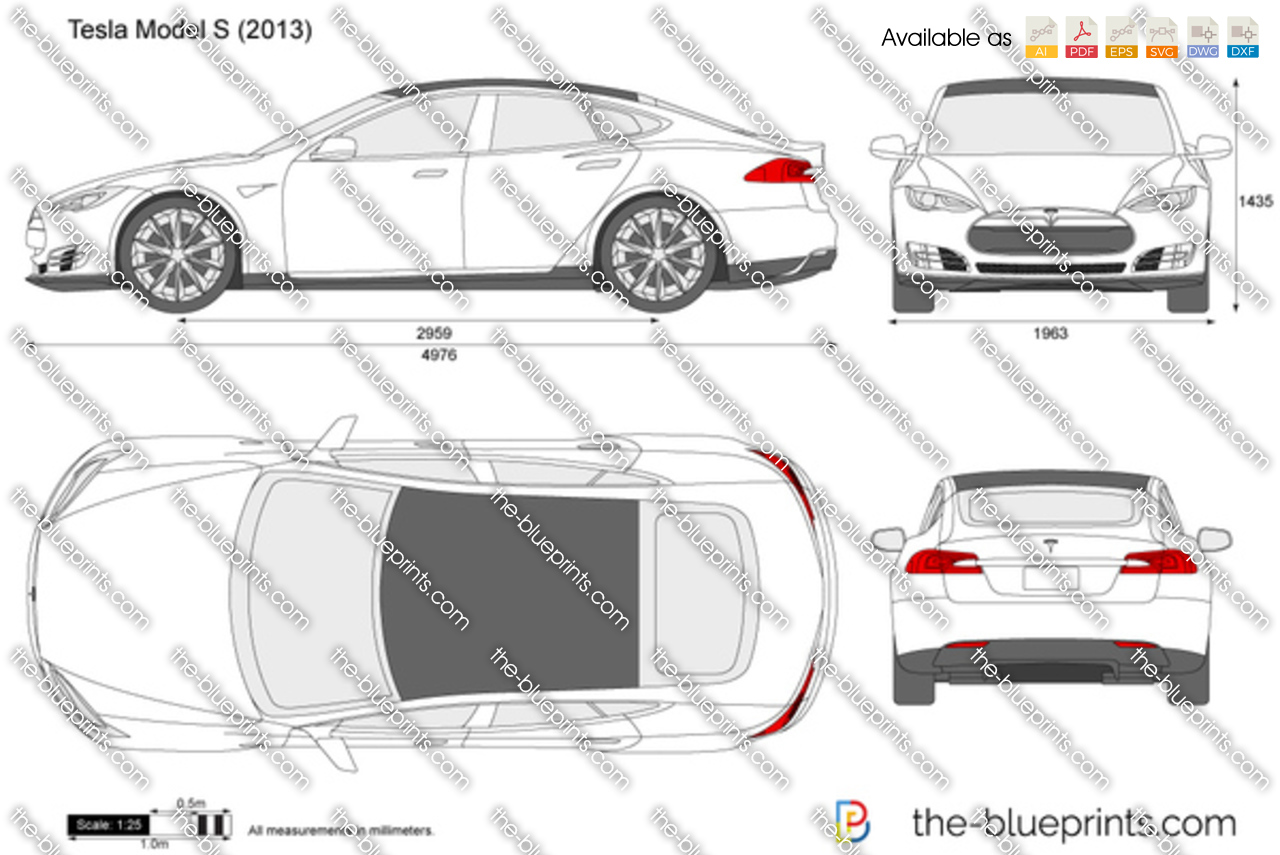 Tesla model s vector drawing tesla model s malvernweather Choice Image