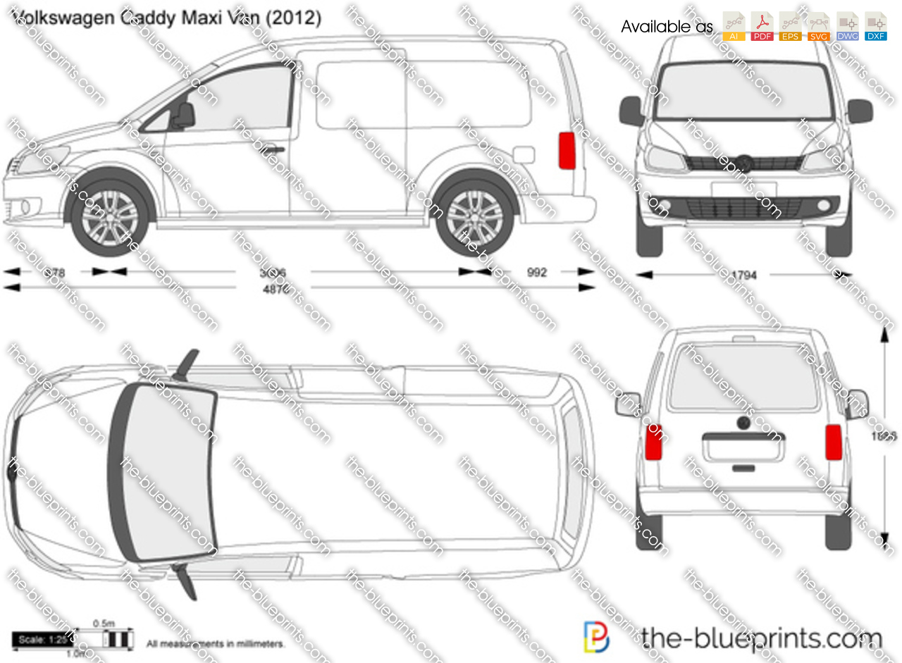 volkswagen caddy maxi van vector drawing