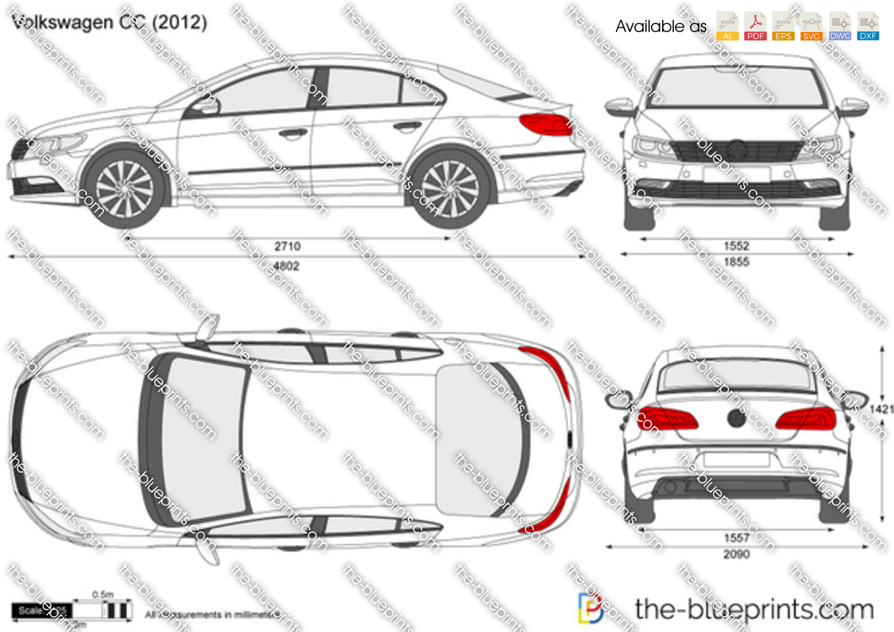 volkswagen cc vector drawing