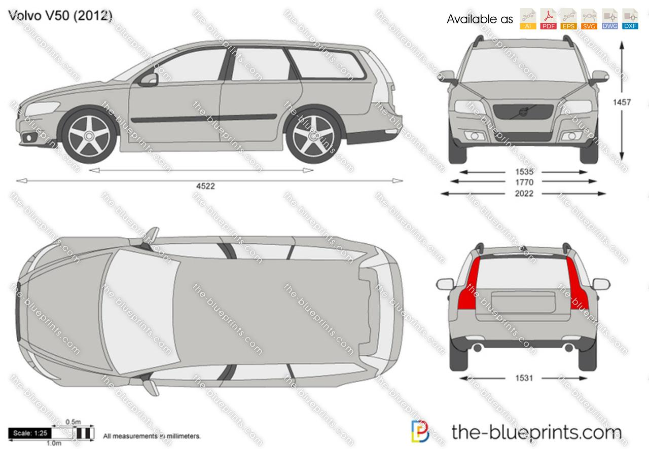 Volvo V50 Vector Drawing