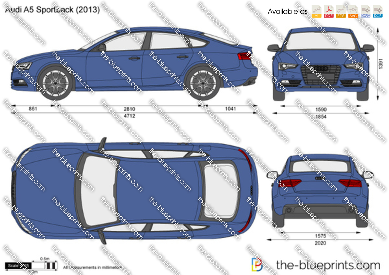 the vector drawing audi a5 sportback. Black Bedroom Furniture Sets. Home Design Ideas