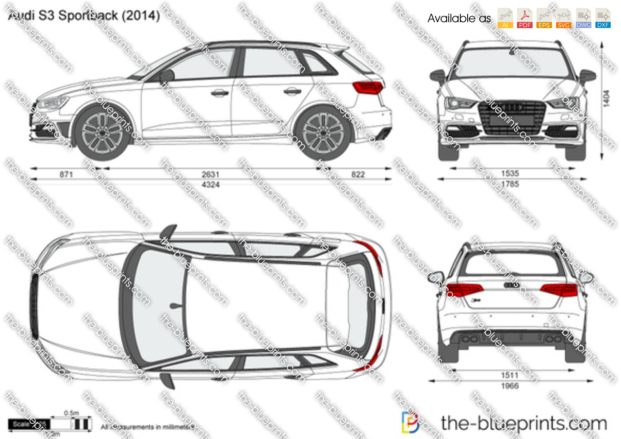 audi s3 sportback vector drawing