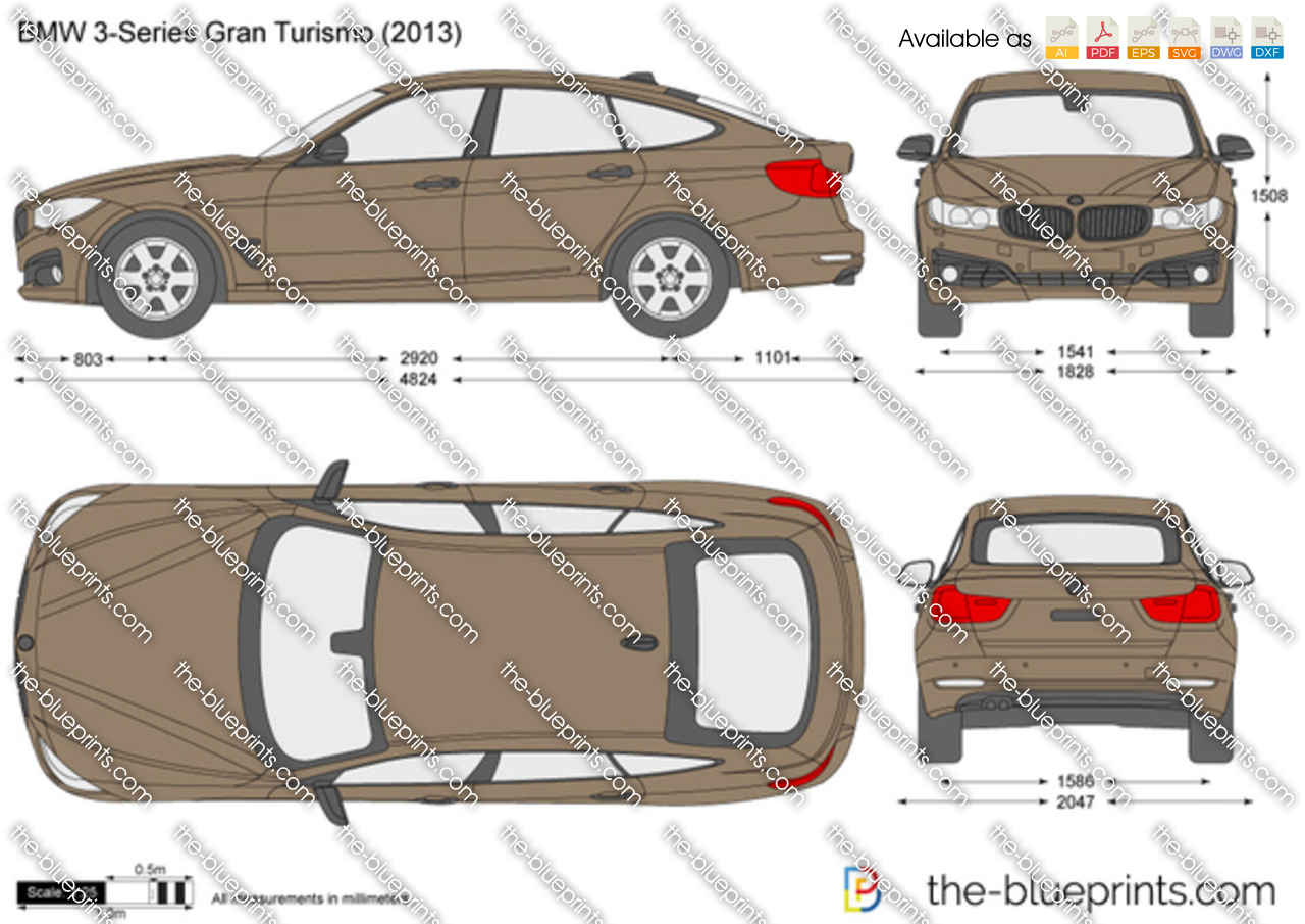 Bmw 3 Series Gran Turismo F34 Vector Drawing