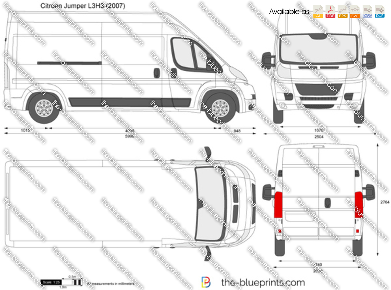 Ford Transit 2017 Wymiary >> Citroen Jumper L3H3 vector drawing