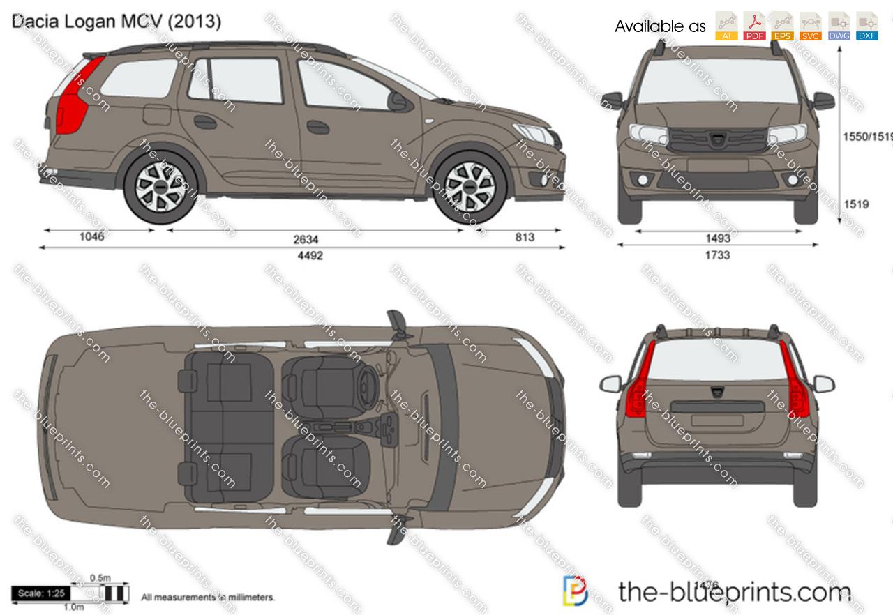 Golf Cart Dimensions >> Dacia Logan MCV vector drawing
