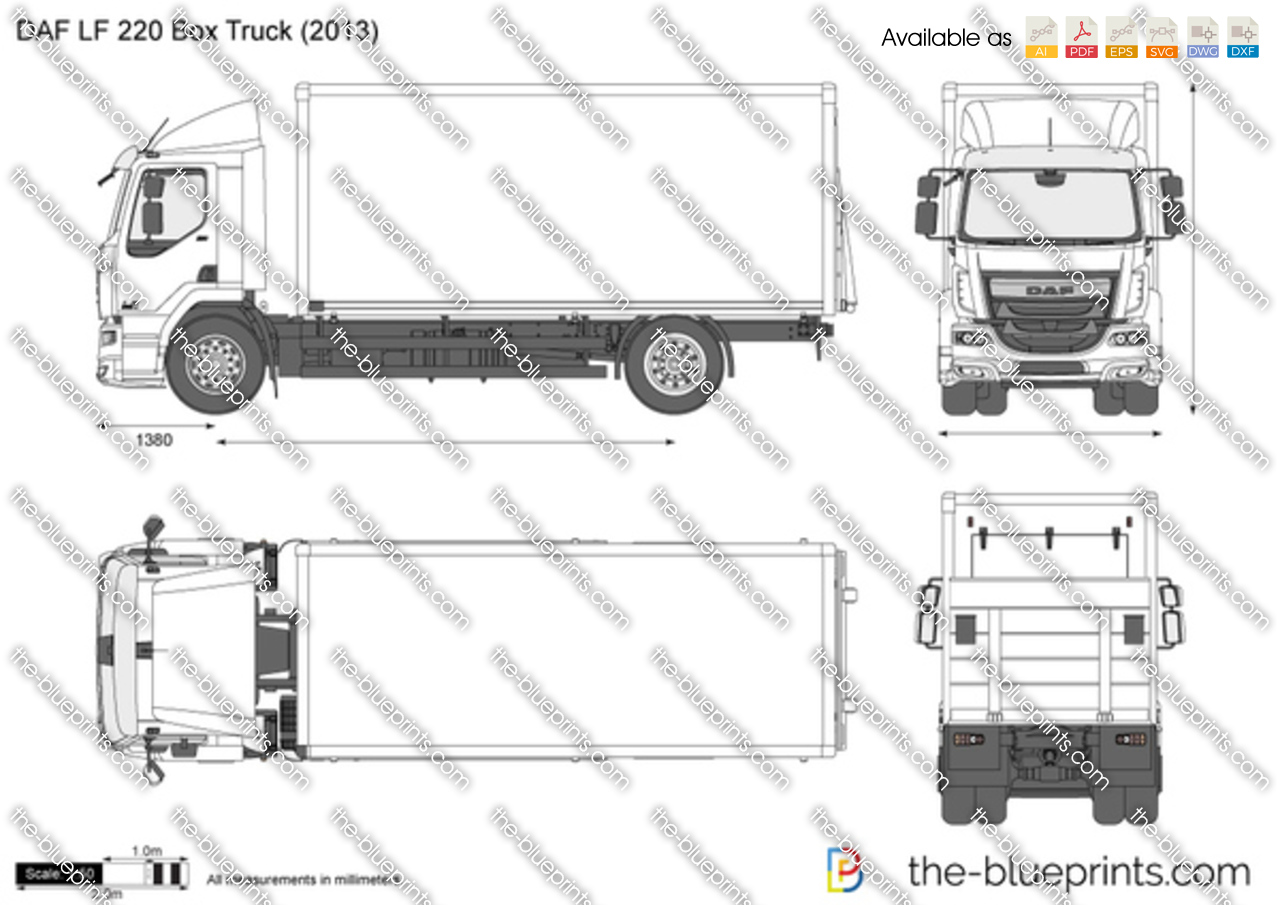 Box Truck Diagram Wiring Schematic Fuse Hino Daf Lf 220 Vector Drawing 2002 Chevy S 10