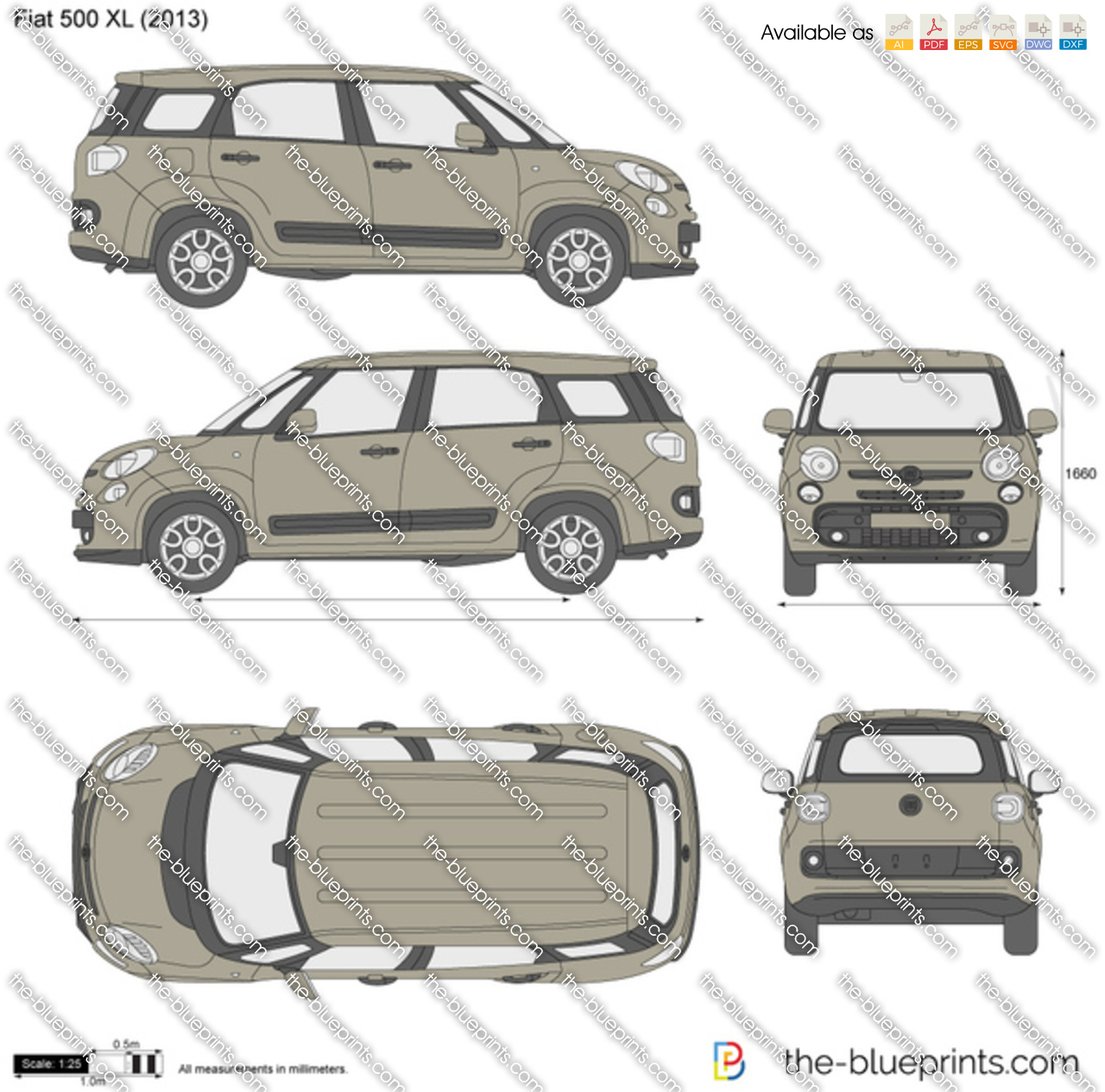 fiat 500 xl vector drawing. Black Bedroom Furniture Sets. Home Design Ideas