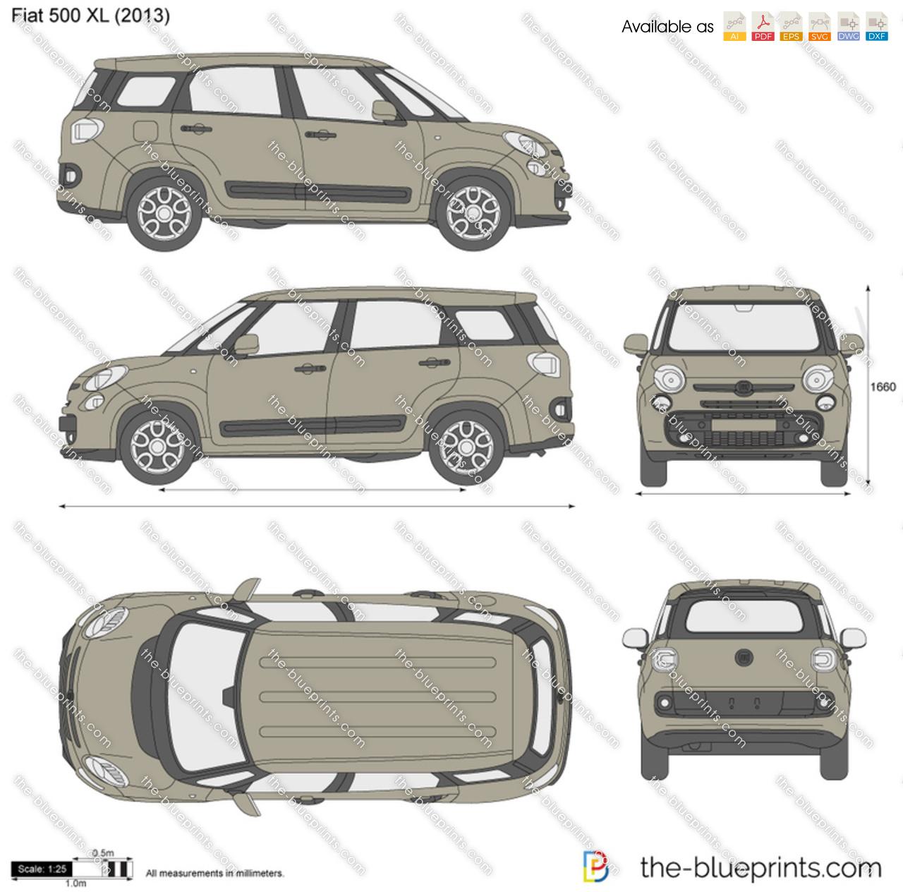 The Blueprints Com Vector Drawing Fiat 500 Xl