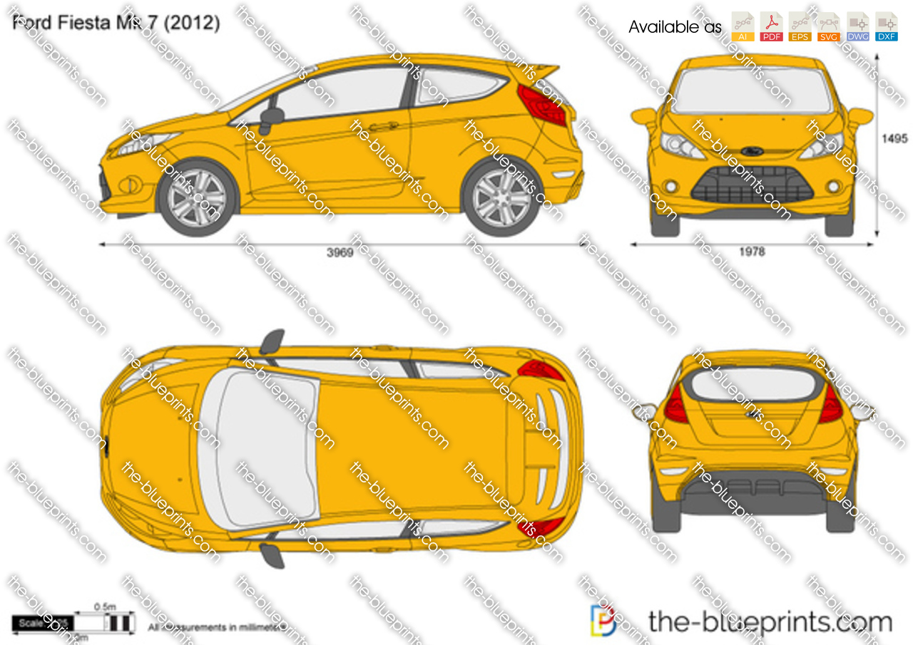 ford fiesta mk 7 vector drawing. Black Bedroom Furniture Sets. Home Design Ideas