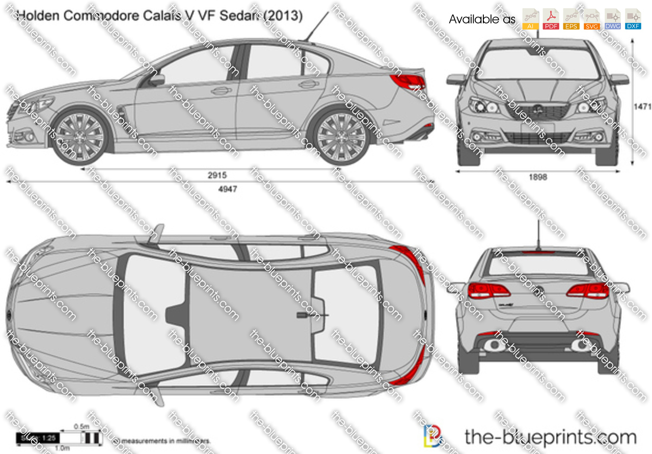 The blueprints vector drawing holden commodore calais v vf holden commodore calais v vf sedan vanachro Images