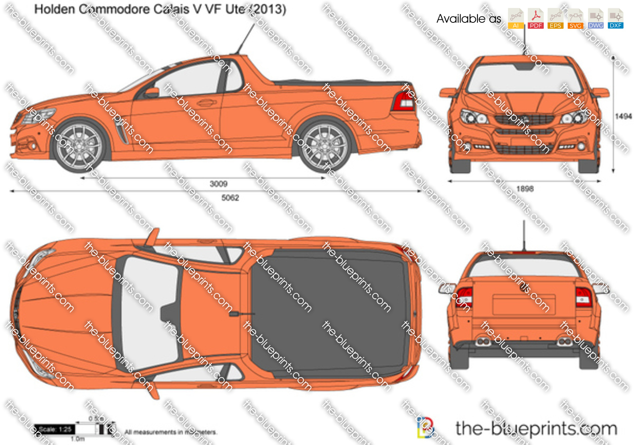 Holden Commodore Calais V Vf Ute Vector Drawing
