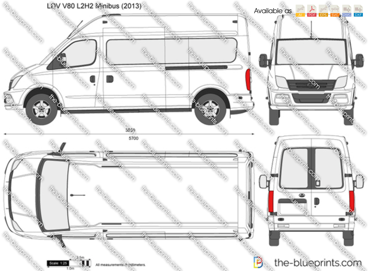 ldv v80 l2h2 minibus vector drawing