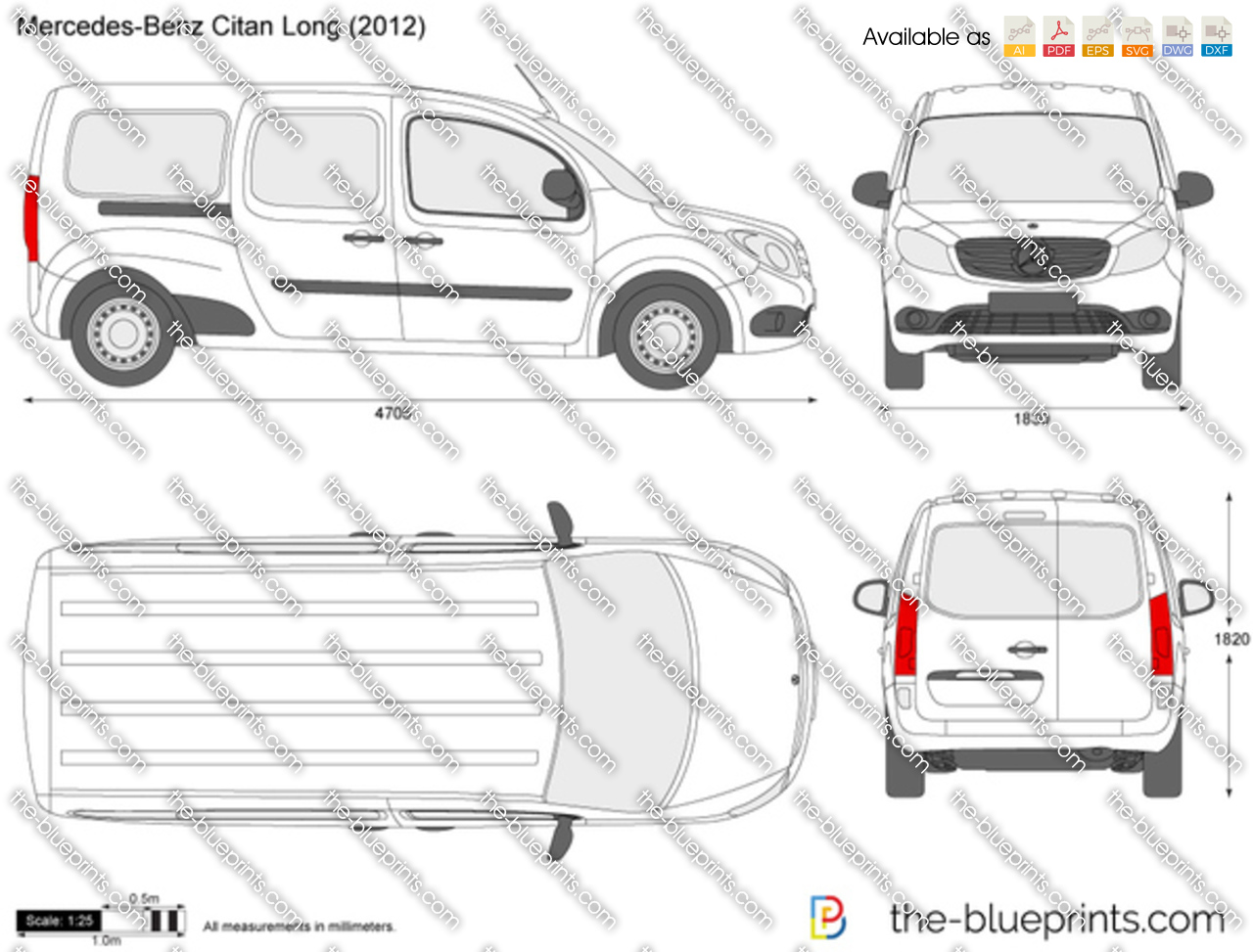 the vector drawing mercedes benz citan long. Black Bedroom Furniture Sets. Home Design Ideas