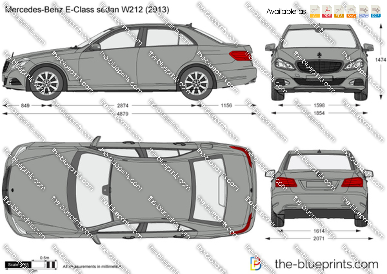 Mercedes Benz E Class Sedan W212 Vector Drawing