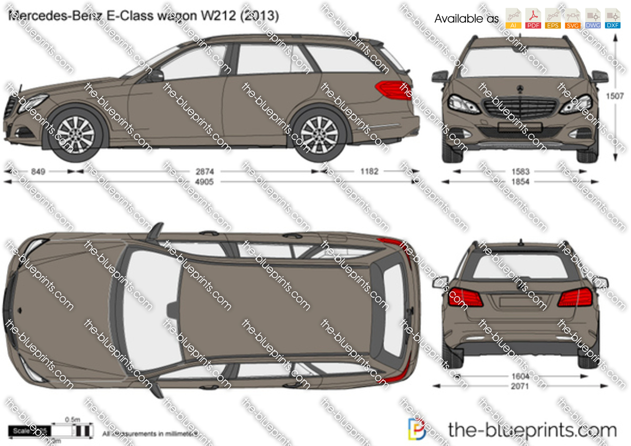 Mercedes Benz E Class Wagon W212 Vector Drawing
