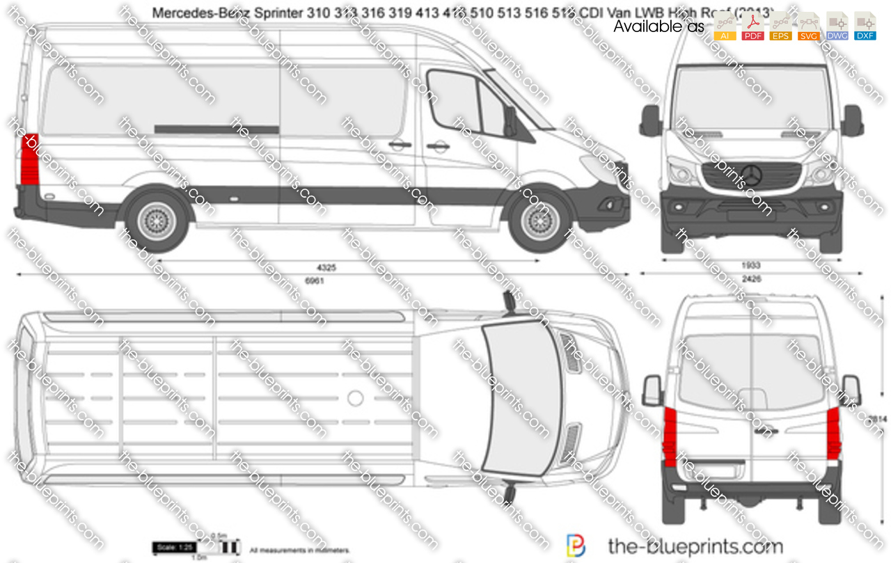 Mercedes Benz Sprinter 310 313 316 319 413 416 510 513 516 519 Cdi Van Lwb High Roof Vector Drawing