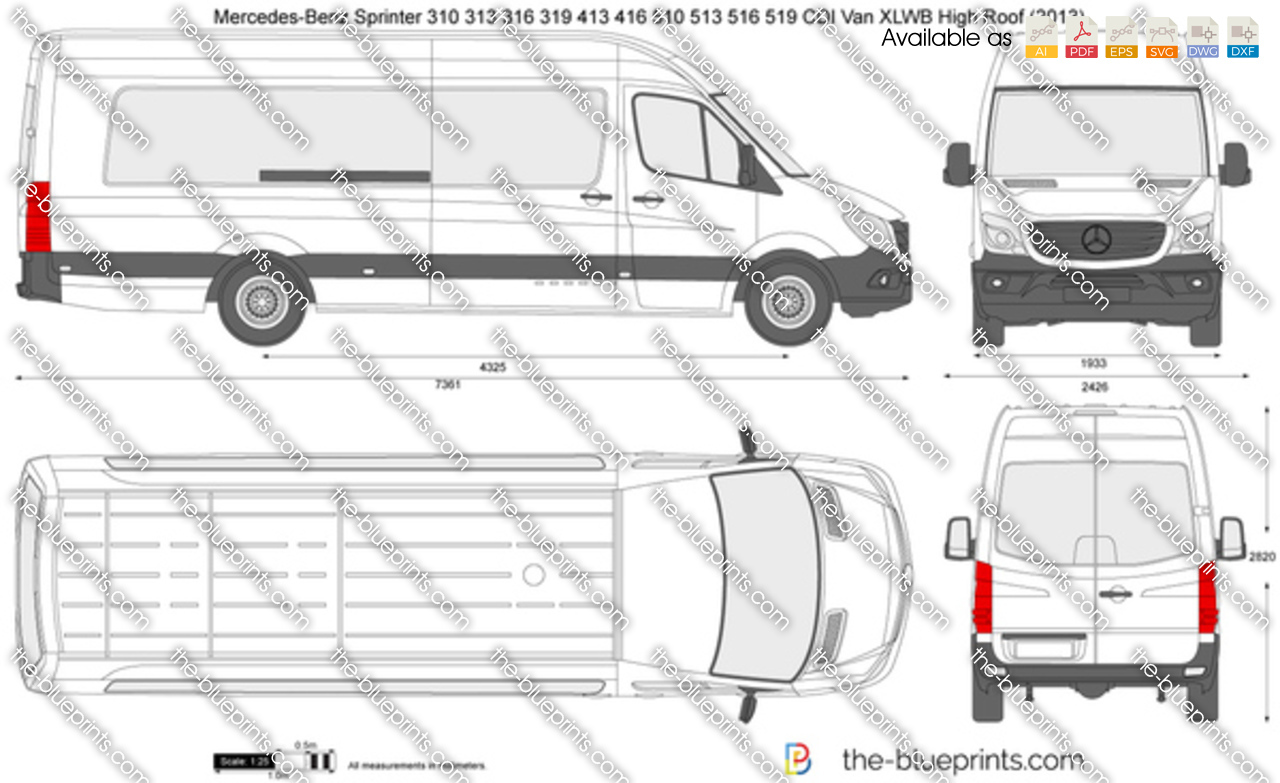 the vector drawing mercedes benz sprinter 310 313 316 319 413 416 510 513 516. Black Bedroom Furniture Sets. Home Design Ideas