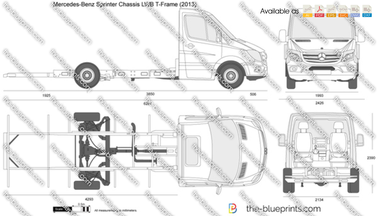 mercedes benz sprinter chassis lwb t frame vector drawing. Black Bedroom Furniture Sets. Home Design Ideas