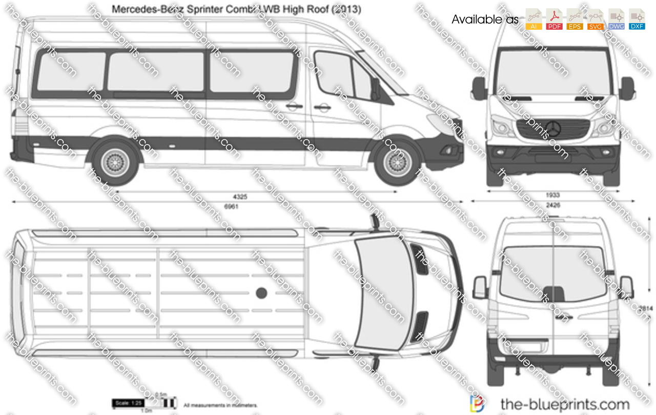 Mercedes Benz Sprinter Combi Lwb High Roof Vector Drawing