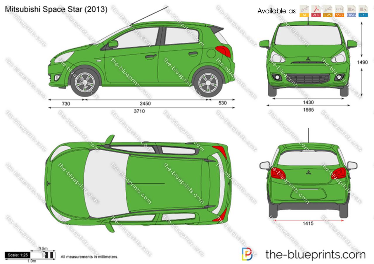 Mitsubishi Space Star Vector Drawing
