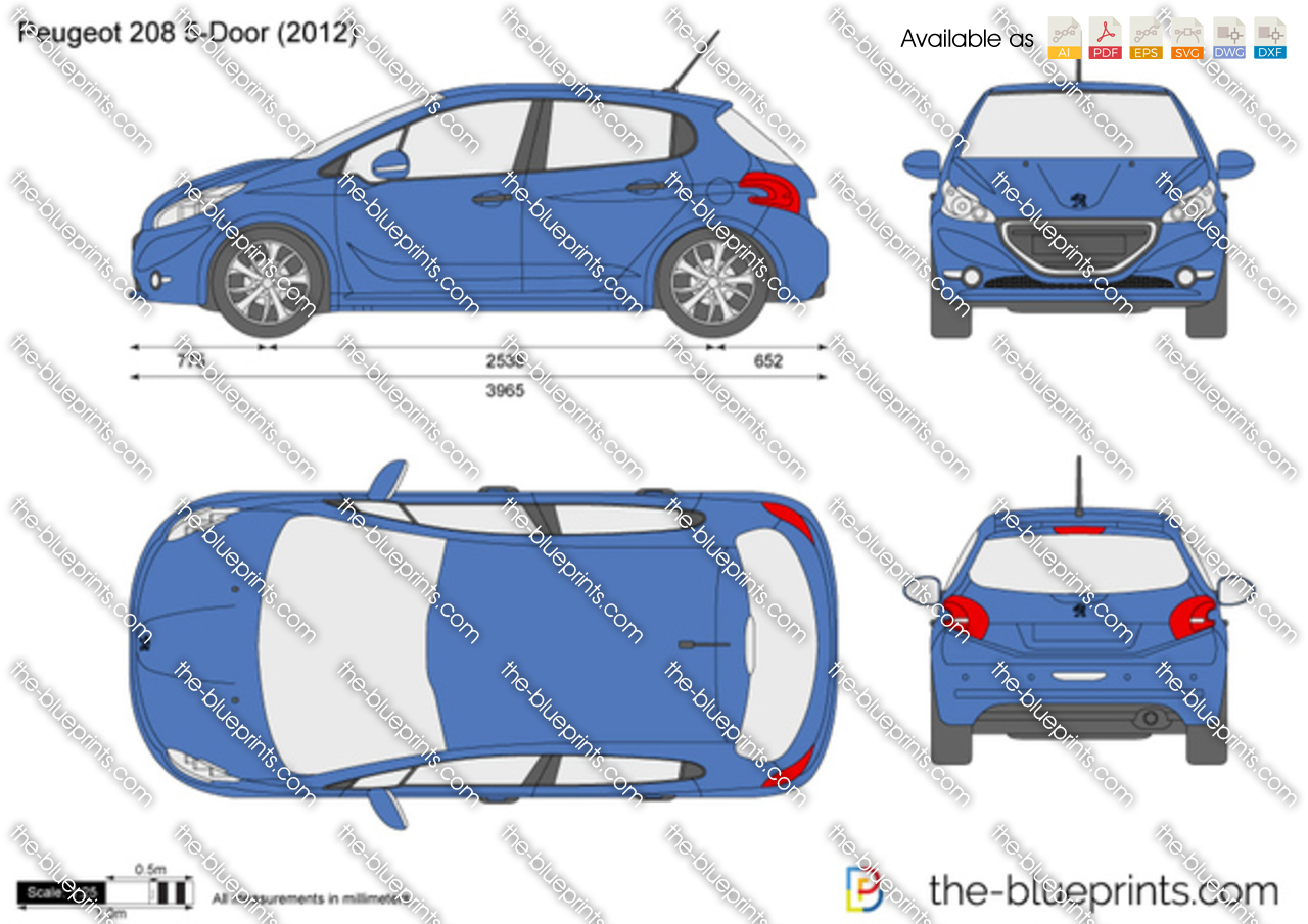 the vector drawing peugeot 208 5 door. Black Bedroom Furniture Sets. Home Design Ideas
