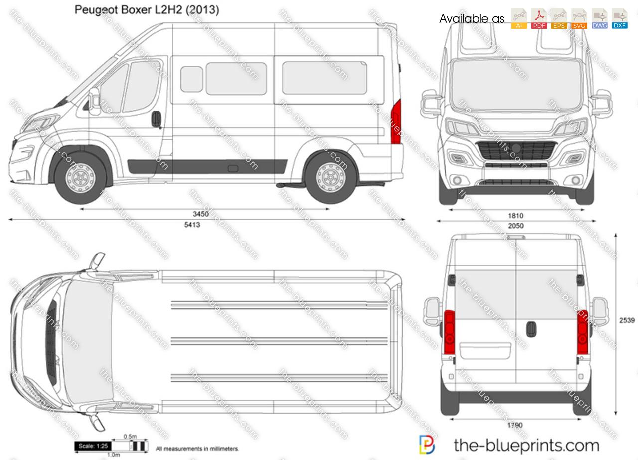 peugeot boxer l2h2 vector drawing. Black Bedroom Furniture Sets. Home Design Ideas