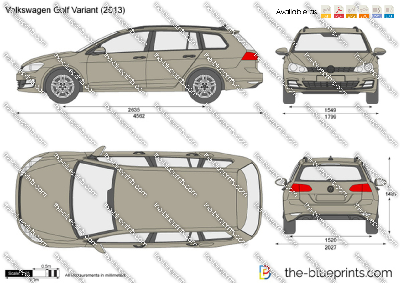 volkswagen golf variant vector drawing