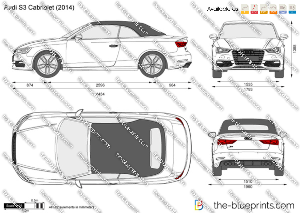 audi s3 cabriolet vector drawing
