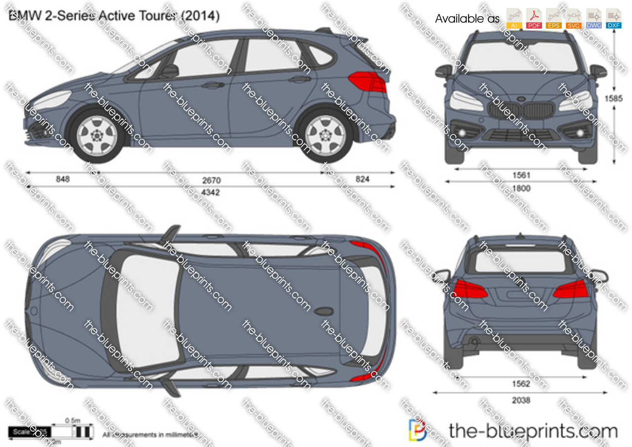 Bmw 2 Series Active Tourer F45 Vector Drawing