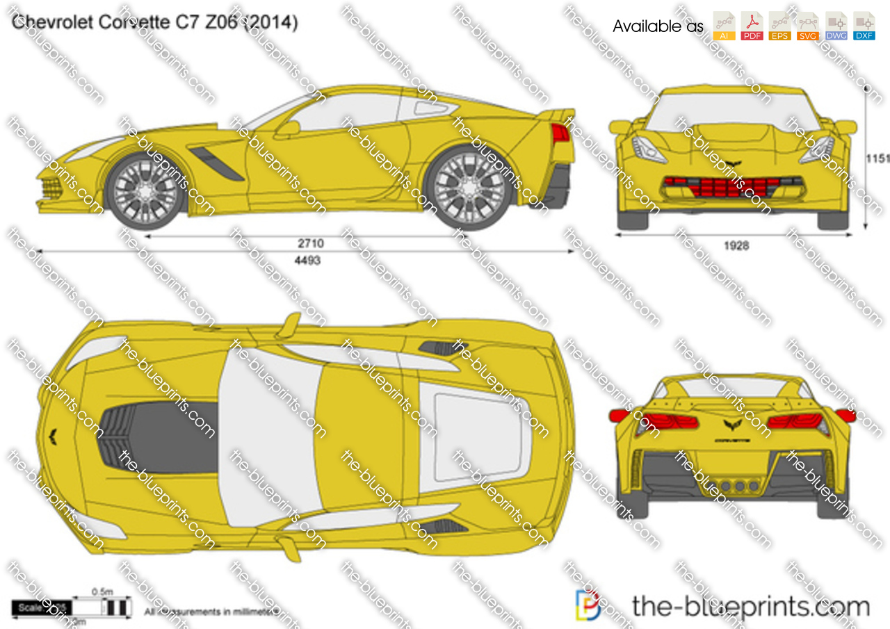 chevrolet corvette c7 z06 vector drawing