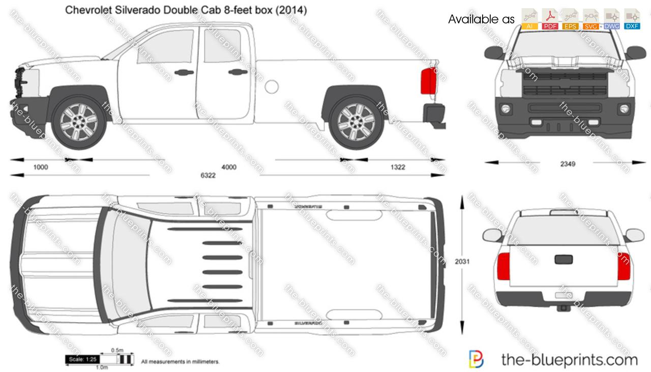 Chevrolet Silverado Double Cab 8 Feet Box Vector Drawing