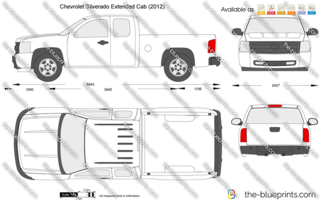 chevrolet silverado extended cab vector drawing. Black Bedroom Furniture Sets. Home Design Ideas