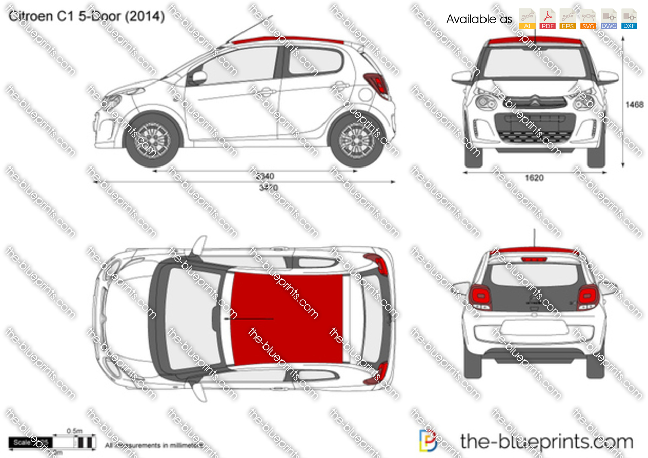 The Blueprints Com Vector Drawing Citroen C1 5 Door
