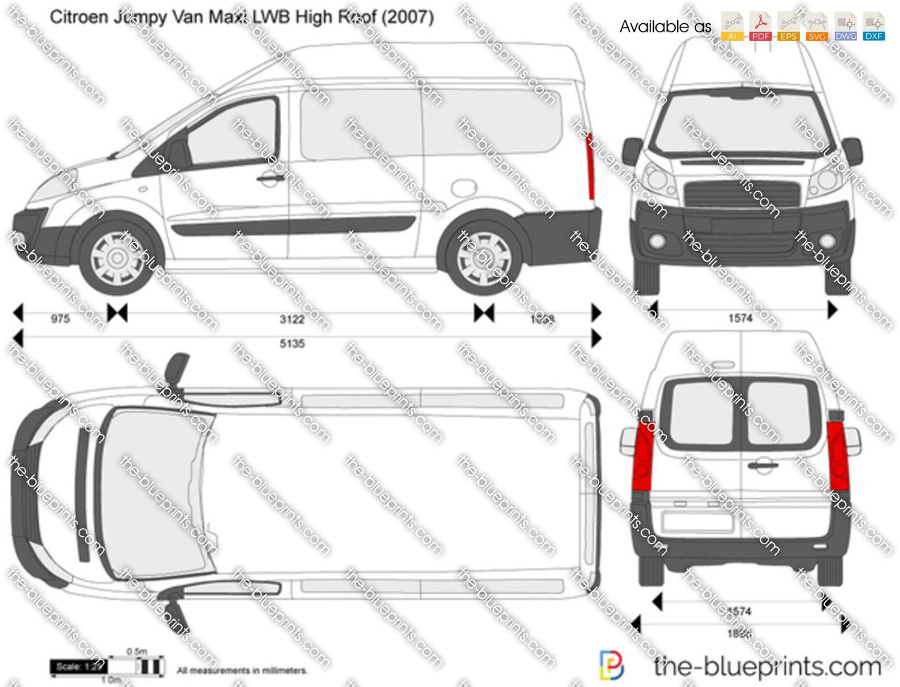 Citroen Jumpy Van Maxi Lwb High Roof Vector Drawing