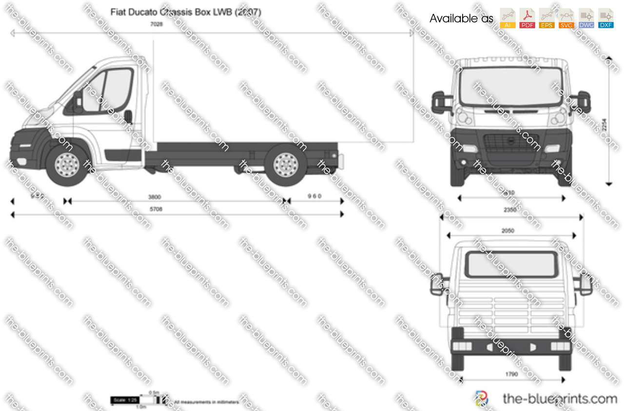 fiat ducato chassis box lwb vector drawing. Black Bedroom Furniture Sets. Home Design Ideas