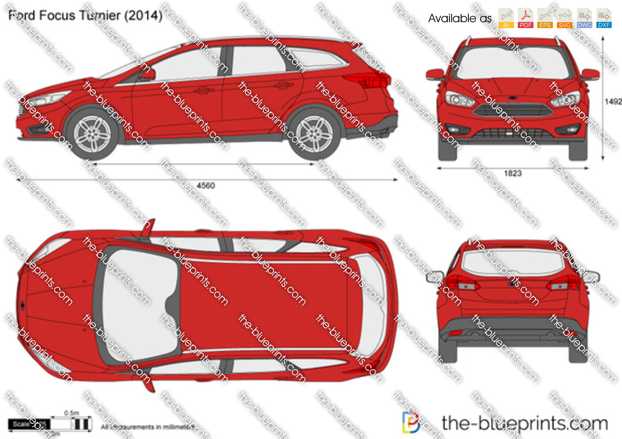 Ford Focus Turnier Vector Drawing