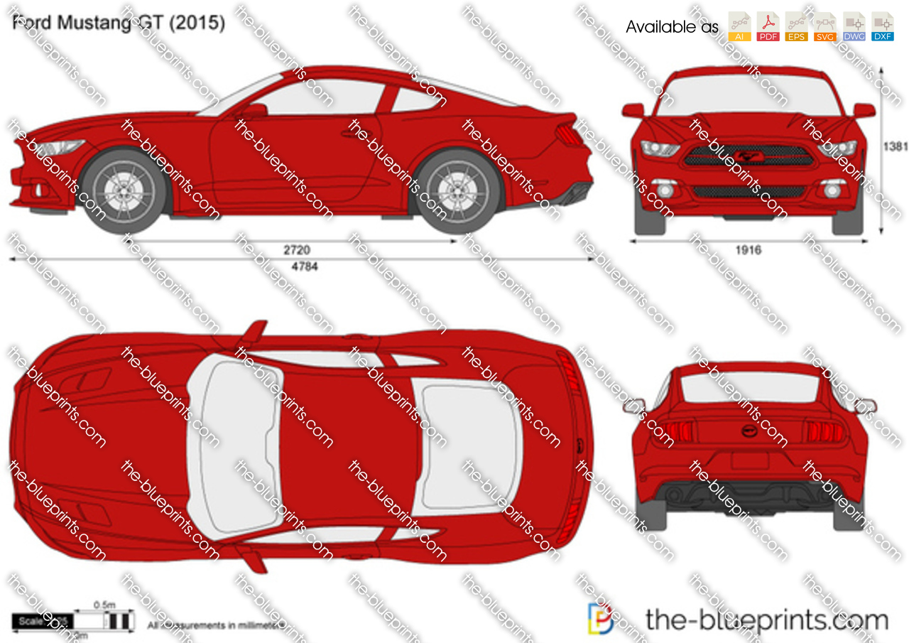 The-Blueprints.com - Vector Drawing - Ford Mustang GT