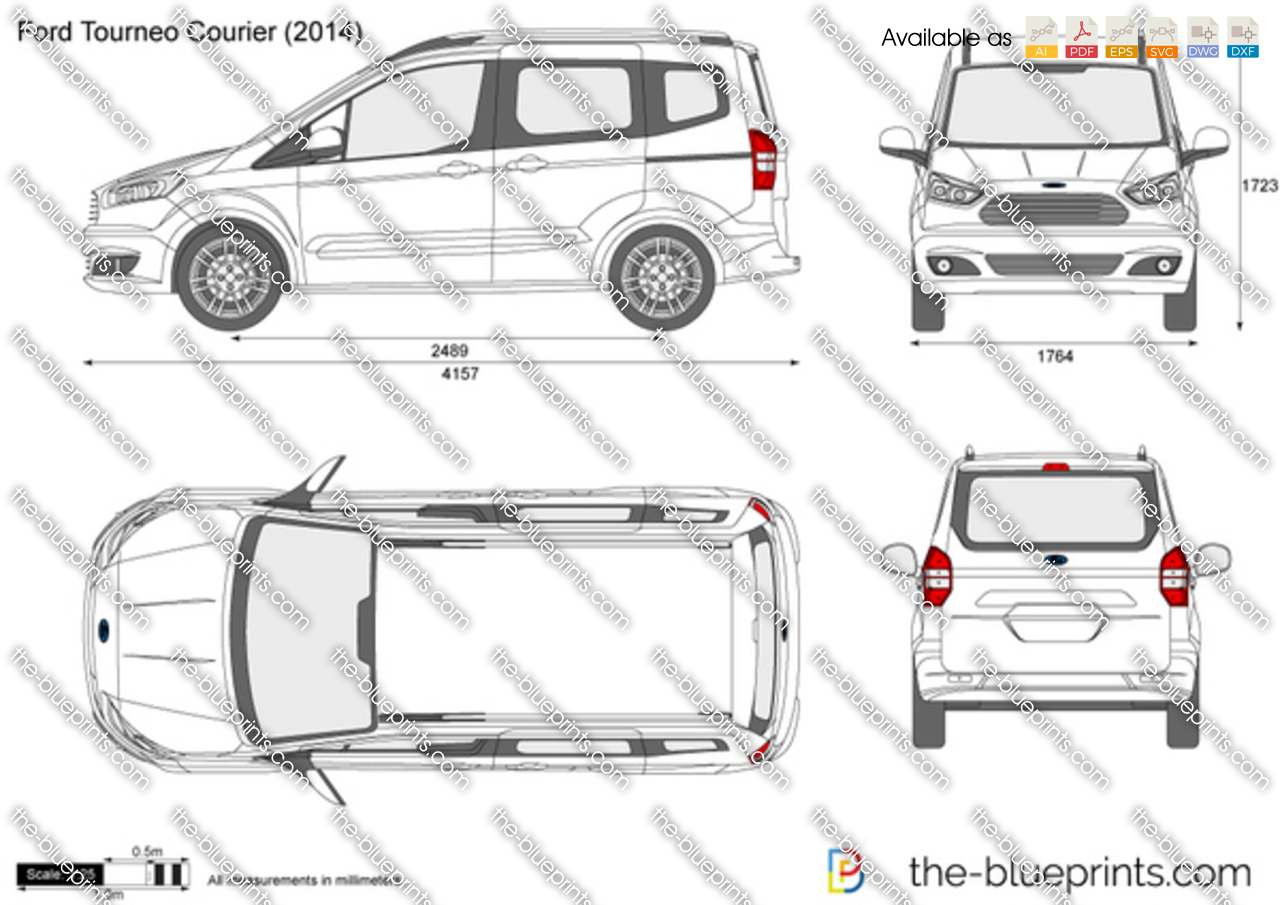 ford tourneo courier vector drawing