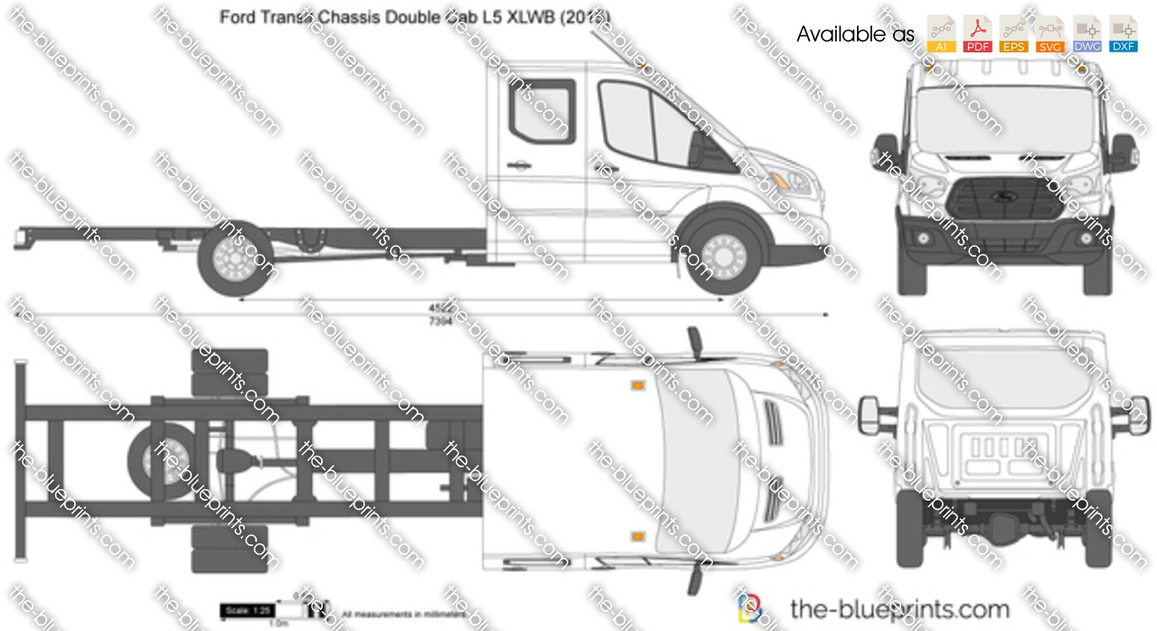 Ford Transit Chassis Double Cab L5 Xlwb Vector Drawing