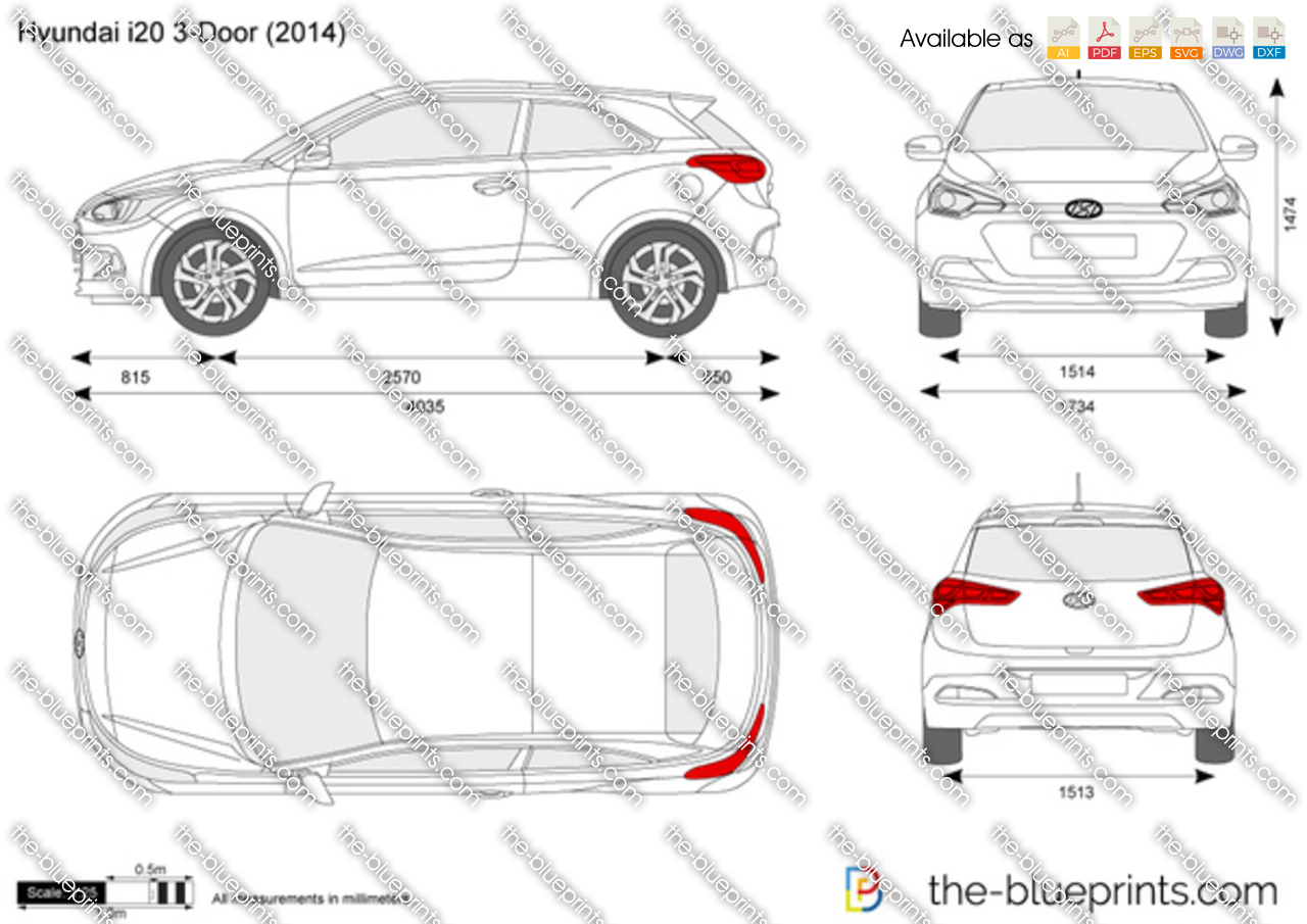 Hyundai I20 3 Door Vector Drawing