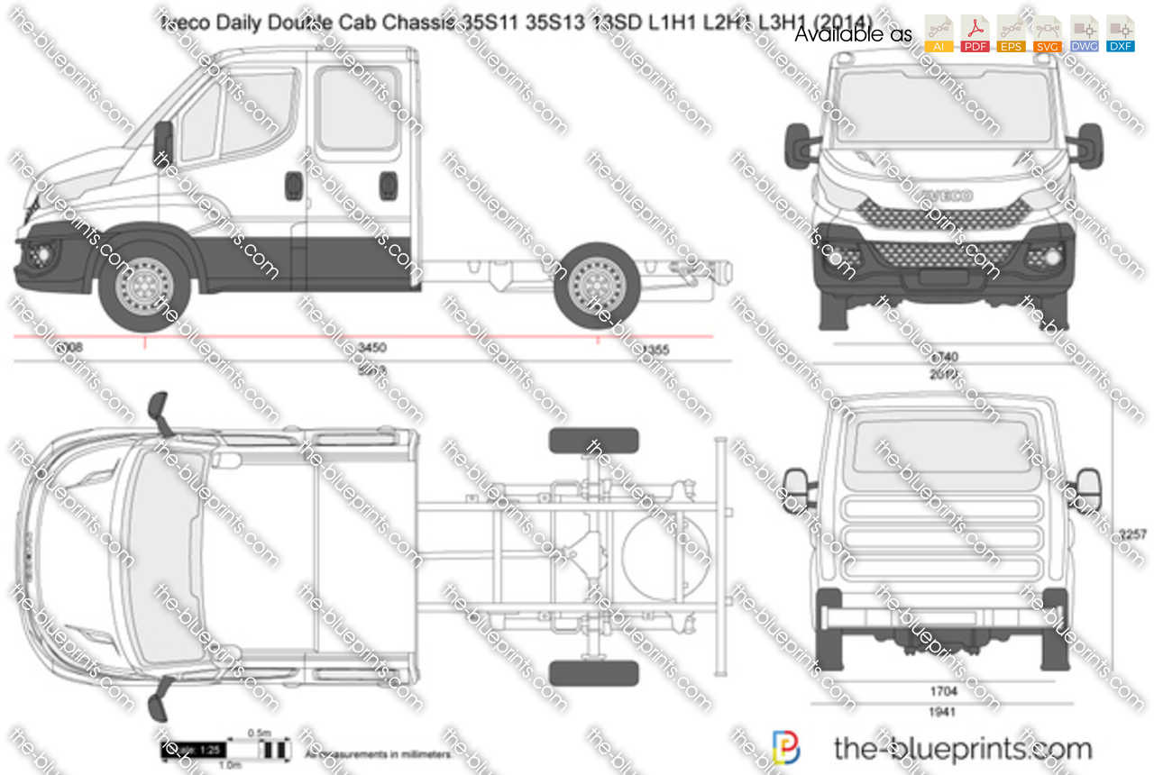 the vector drawing iveco daily double cab chassis 35s11 35s13 13sd l1h1. Black Bedroom Furniture Sets. Home Design Ideas
