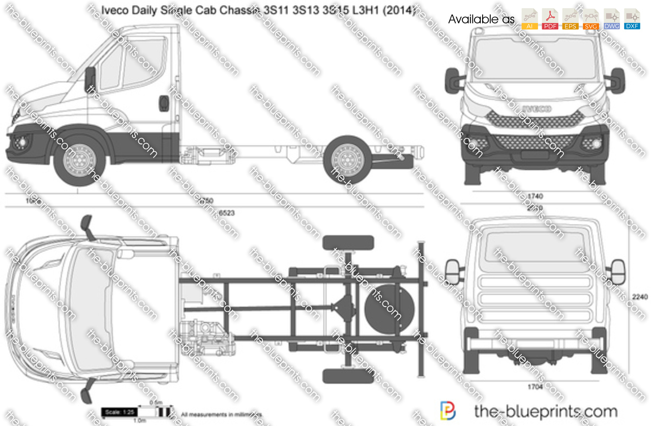 iveco daily single cab chassis 3s11 3s13 3s15 l3h1 vector drawing. Black Bedroom Furniture Sets. Home Design Ideas