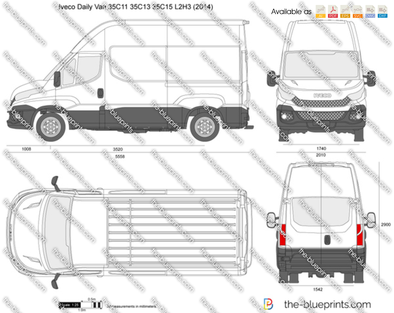 Wspaniały Iveco Daily Van 35C11 35C13 35C15 L2H3 vector drawing EQ43