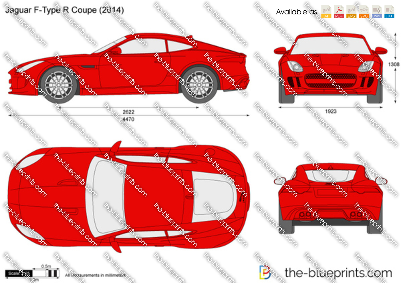 Jaguar F Type R Coupe Vector Drawing