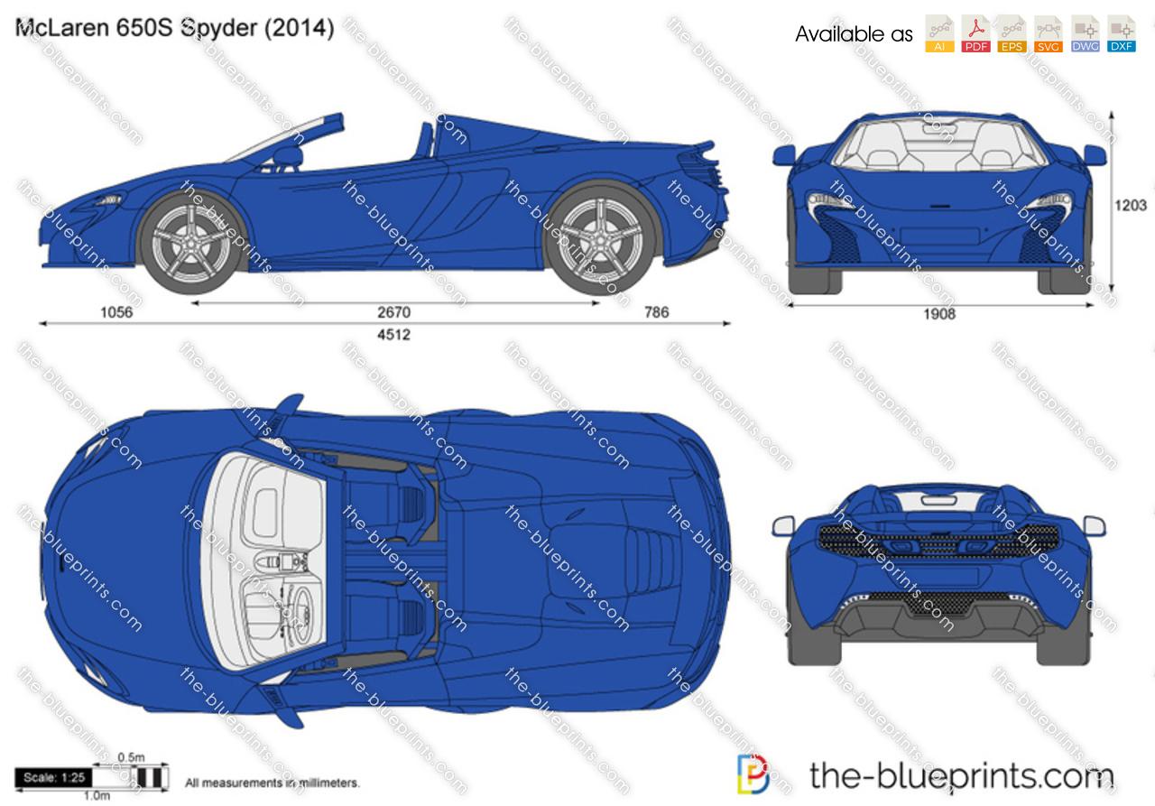 Mclaren 650s Spider Vector Drawing